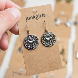 Circular Unicorn Charm Earrings Nickel Free with Rubber Backing - Junk Girls