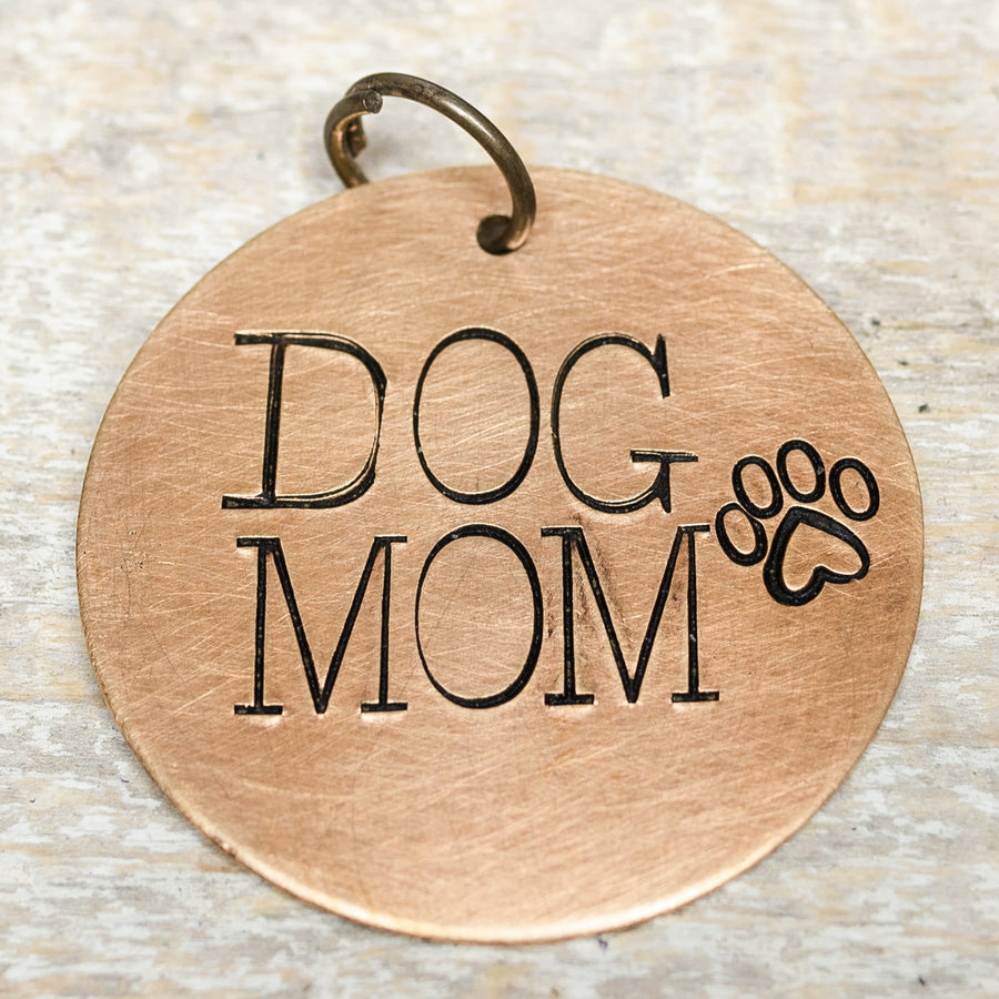 Dog Mom Key Ring Necklace Hand Stamped Customizable