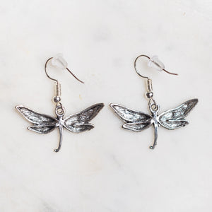 Dragonfly Charm Earrings Nickel Free with Rubber Backing - Junk Girls