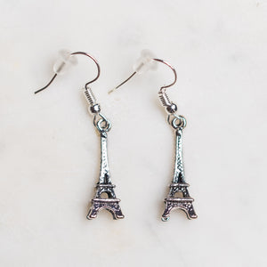 Eiffel Tower Charm Earrings Nickel Free with Rubber Backing - Junk Girls