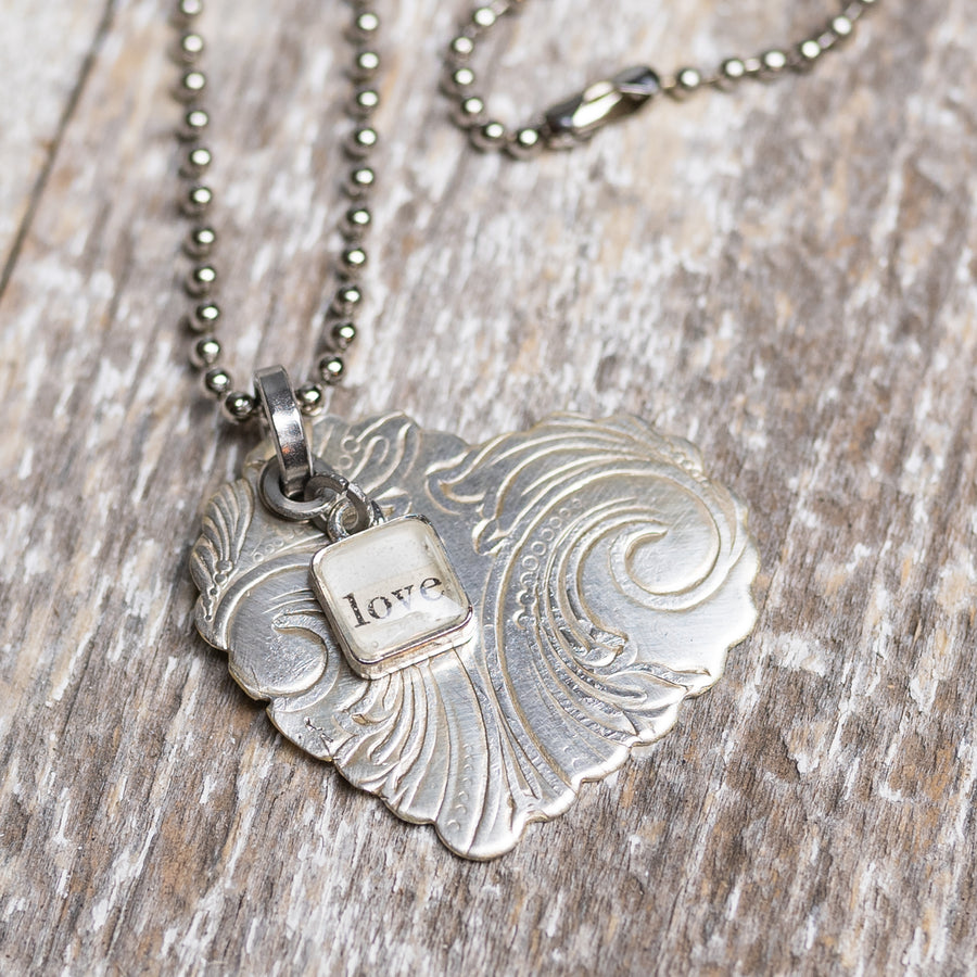 Scalloped Silver Plate Heart Necklace w/ Handmade Love Charm