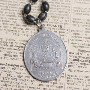 Antique Religious Medal Necklace w/ Black Rosary Beaded Chain