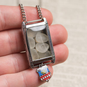 Assemblage Necklace of Vintage Art Deco Wrist Watch filled w/ White Sea Glass & Monte Carlo Charm by Green House Supply GHS026