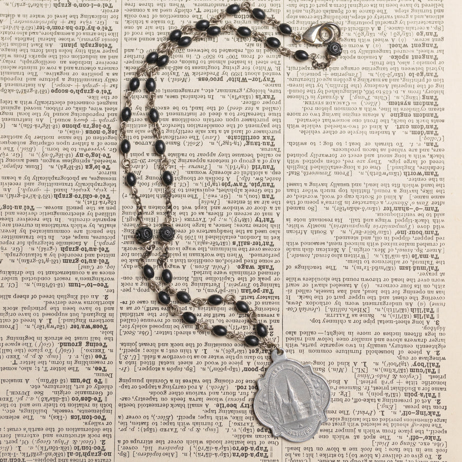 Antique Religious Medal Necklace with Black Rosary Beaded Chain by Green House Supply GHS027