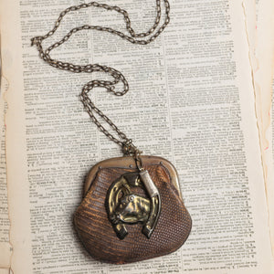 Antique Leather Purse Assemblage Necklace w/ Horse Charm & Harmonica Toy