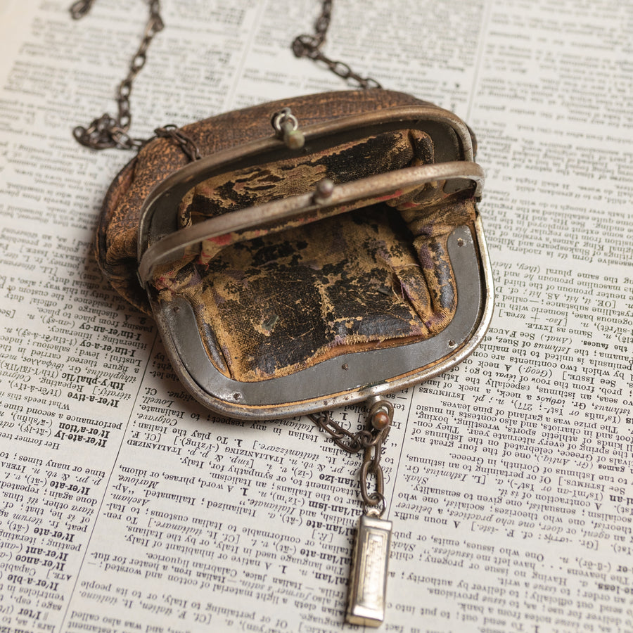 Antique Leather Purse Assemblage Necklace w/ Horse Charm & Harmonica Toy by Green House Supply GHS031