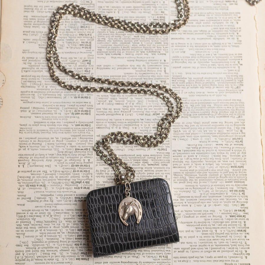 Vintage Leather Purse Assemblage Necklace w/ Horse Charm by Green House Supply GHS033
