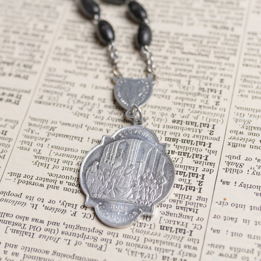 Antique 1908 Religious Medal Necklace with Black Rosary Beaded Chain