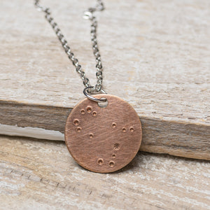 "Gemini Zodiac Constellation Hand Stamped Repurposed Brass Necklace on 20"" chain"