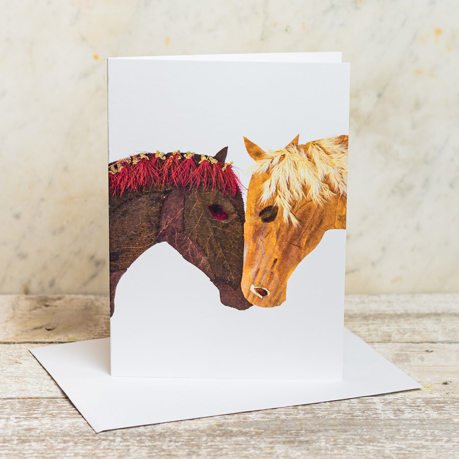 Two Horse Heads Flower Art 5x7 Greeting Card