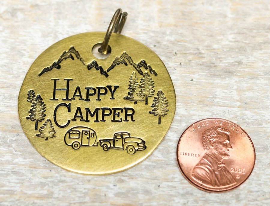 Happy Camper w/ Mountains & Trees - Hand Stamped Brass