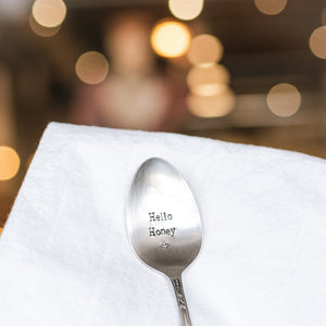 Hello Honey - Hand Stamped Vintage Silver Plate Spoon