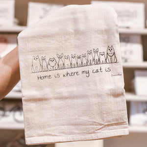 Home Is Where My Cat Is Cotton Tea Kitchen Towel