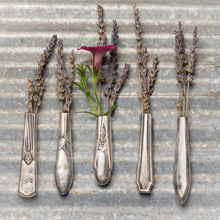Silver Plate Knife Handle Vases