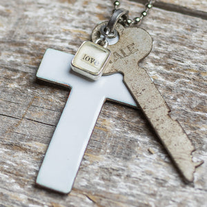 Handmade White Enamel Cross, Key & Love Charm Necklace