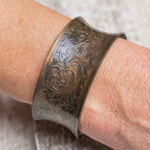 "Brass Color Vintage Filigree Design 1 1/8"" Cuff Bracelet by Lisa Souers Designs - LSD0120"
