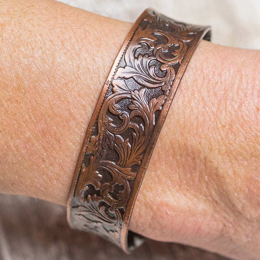 "Brass Color Vintage Filigree Design 3/4"" Cuff Bracelet"
