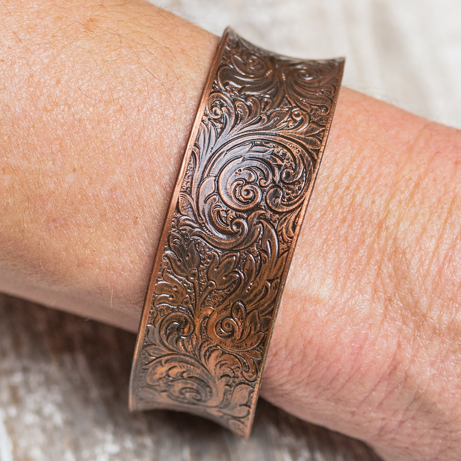 "Brass Color Vintage Filigree Design 1"" Cuff Bracelet"