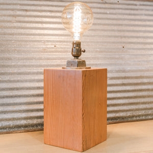 Smooth Wood Block With Brass Straps & Found Objects - Table Lamp By Jenny K