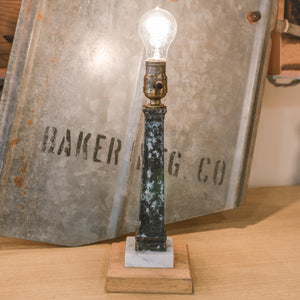 "Vintage Wood & Marble Blocks w/ Patina Lamp Pat - Desk Lamp ""R"" By Jenny K"