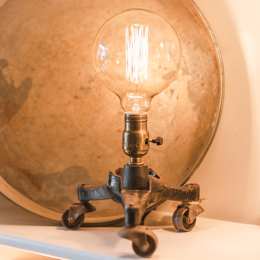 Antique Cast Iron Piano Dolly on Wheels Table Lamp by Jenny K #7