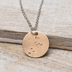 "Leo Zodiac Constellation Hand Stamped Repurposed Brass Necklace on 20"" chain"