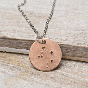 "Libra Zodiac Constellation Hand Stamped Repurposed Brass Necklace on 20"" chain"