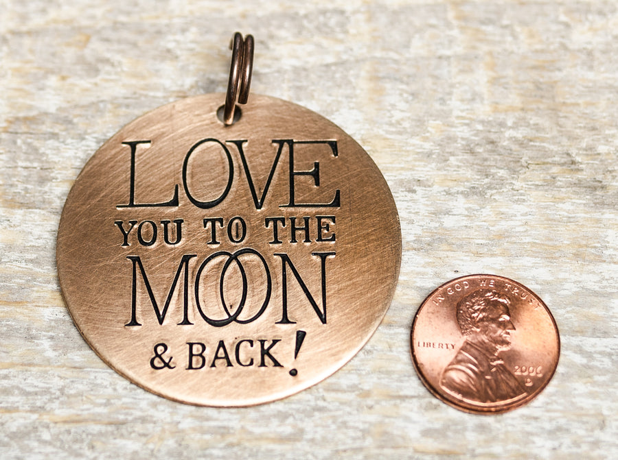 Moon and Back - Hand Stamped Brass