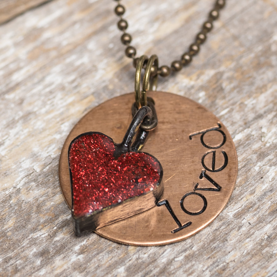 Hand Stamped Loved w/ Glitter Heart Necklace/Key Ring
