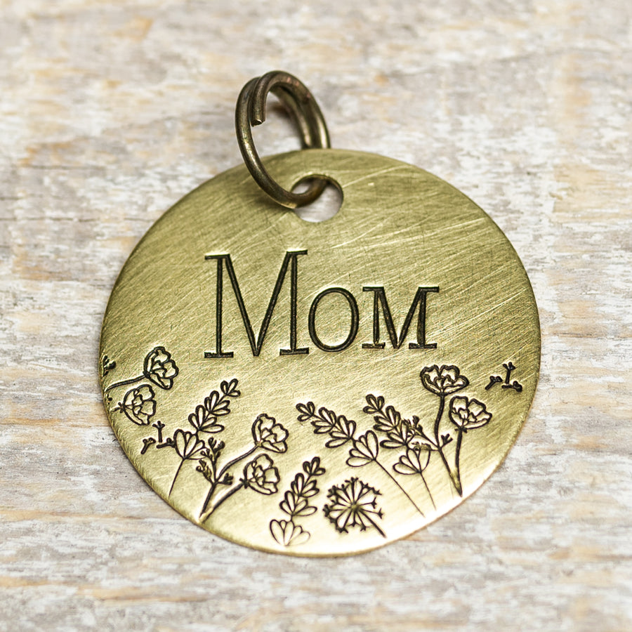 Mom with Flowers - Hand Stamped Brass