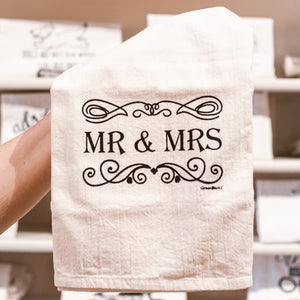 Mr. & Mrs. Cotton Tea Kitchen Towel for Wedding Engagement Anniversary Gift