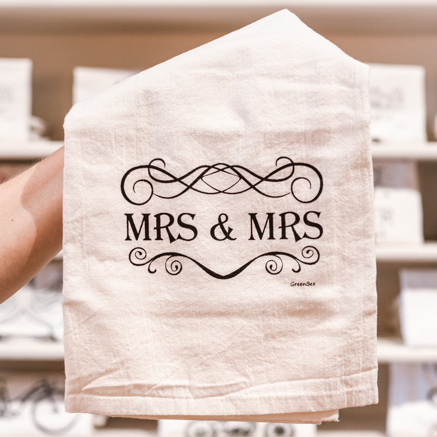 Mrs. & Mrs. Cotton Tea Kitchen Towel for Wedding Engagement Anniversary Gift