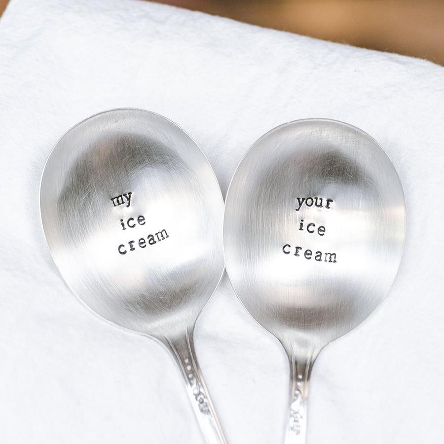 My Ice Cream / Your Ice Cream - Hand Stamped Silver Plate Spoon SET