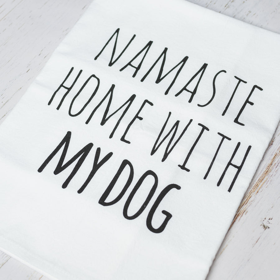 Namaste Home With My Dog Cotton Tea Kitchen Towel