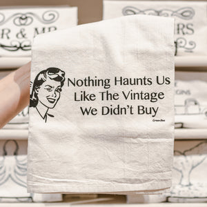 Nothing Haunts Us Like The Vintage We Didn't Buy Cotton Tea Kitchen Towel