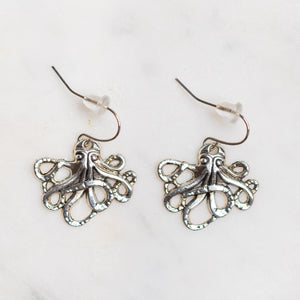 Octopus Charm Earrings Nickel Free with Rubber Backing - Junk Girls