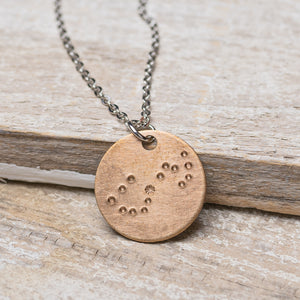 "Scorpio Zodiac Constellation Hand Stamped Repurposed Brass Necklace on 20"" chain"