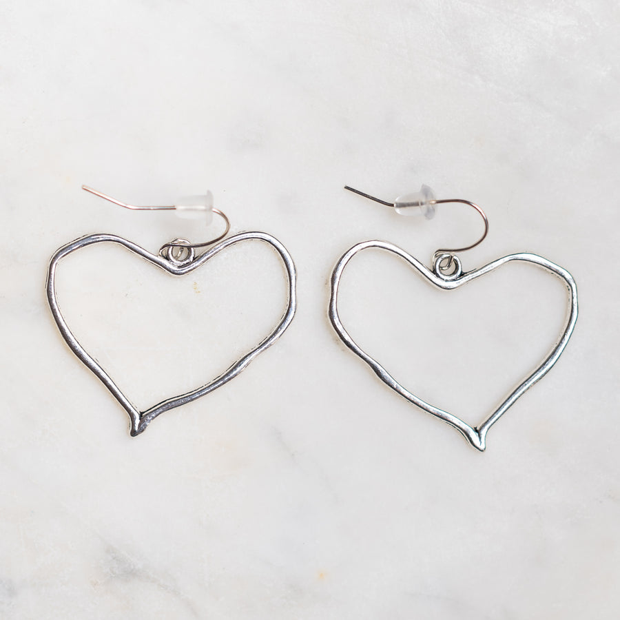 Silver Colored Heart Charm Earrings Nickel Free with Rubber Backing - Junk Girls