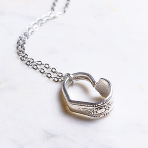 Vintage Silver Plate Cutlery Heart Necklace Handmade The Junk Girls