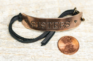 Sisters - Brass Bracelet Leather Strap