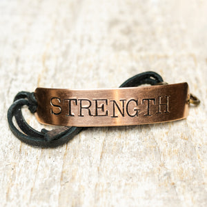 Strength - Brass Bracelet Leather Strap