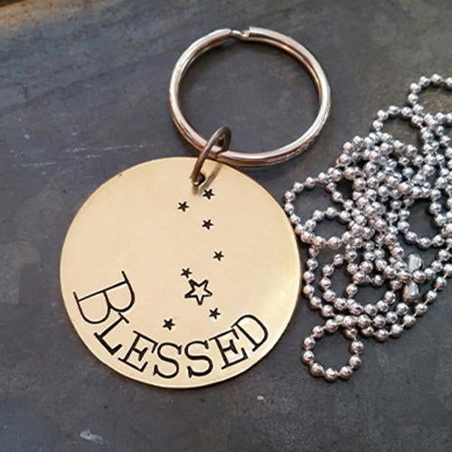 Blessed - Hand Stamped Brass Key Ring Necklace - Stamped