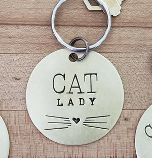 Cat Lover Key Ring Necklace Hand Stamped Customizable - Cat
