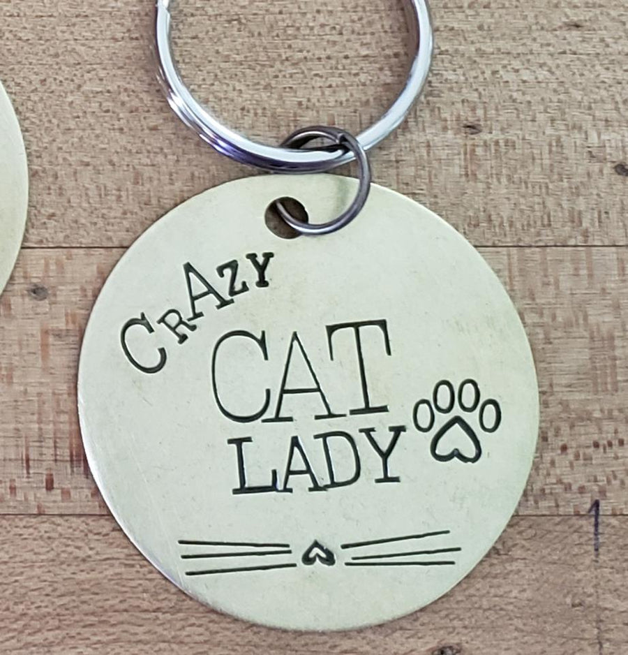 Cat Lover Key Ring Necklace Hand Stamped Customizable -