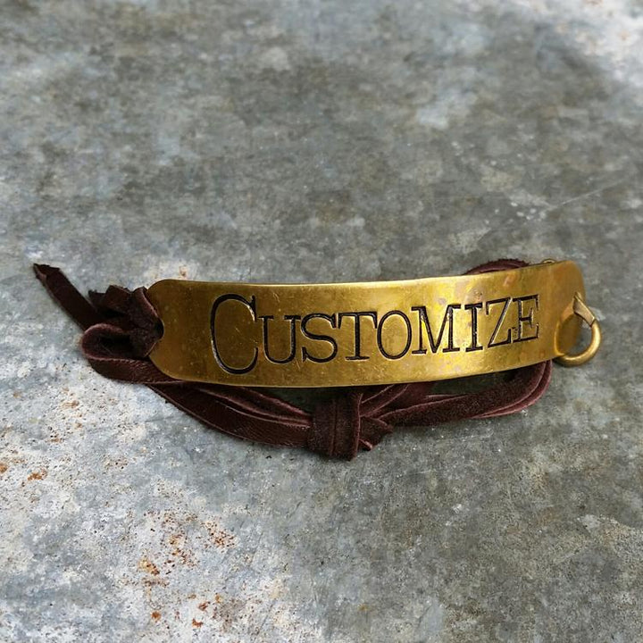 Customizable Brass Bracelet Leather Strap - Brown Leather -