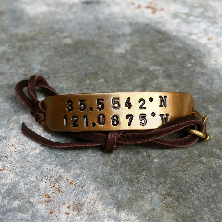 Customizable Coordinates Brass Bracelet Leather Strap -