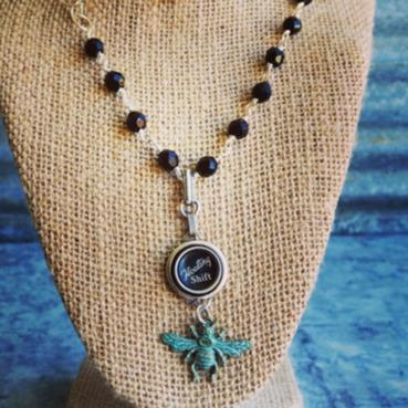 Floating Shift Typewriter Key Bee Charm and Glass Beaded