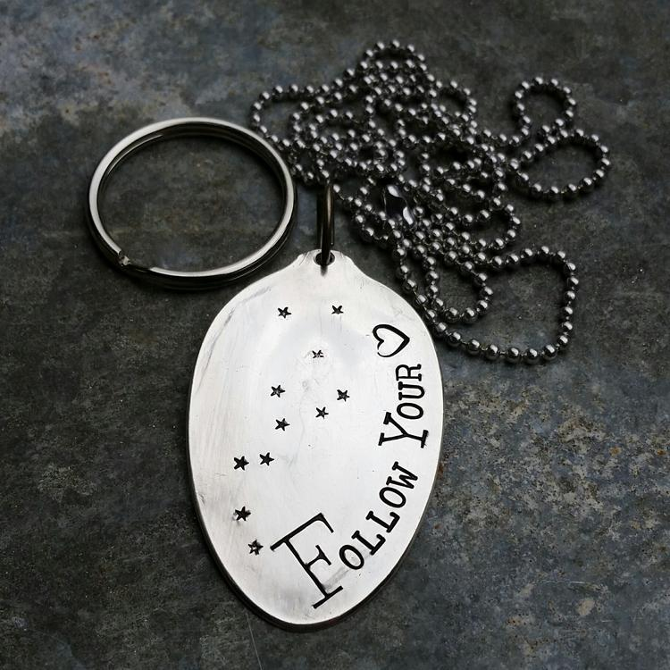 Follow Your Heart - Hand Stamped Silver Plate Key Ring
