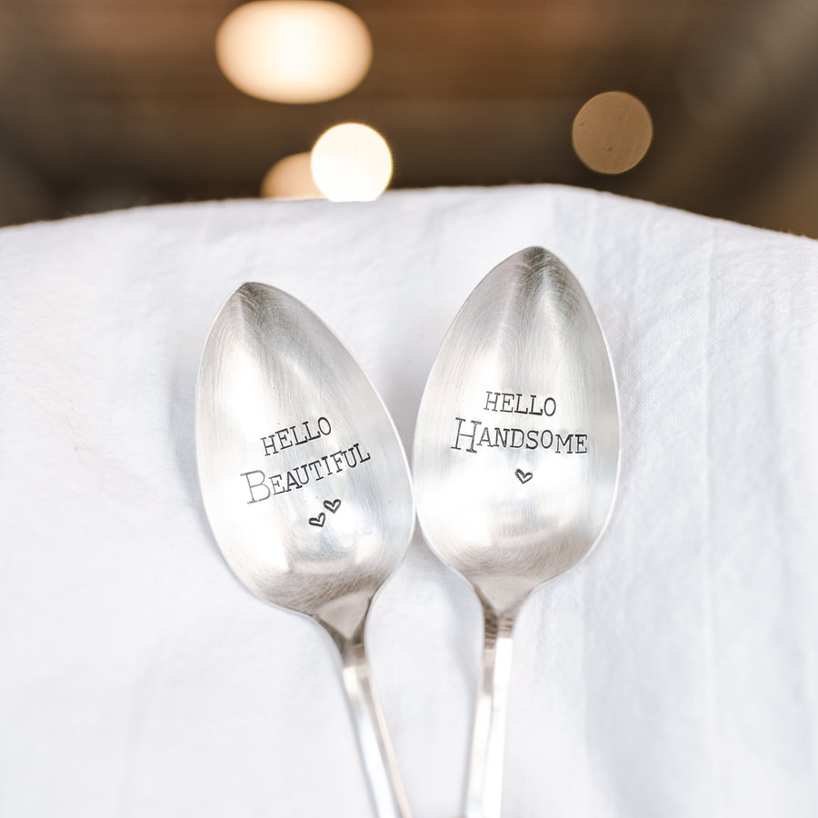 Hello Beautiful, Hello Handsome - Hand Stamped Silver Plate Spoon Set