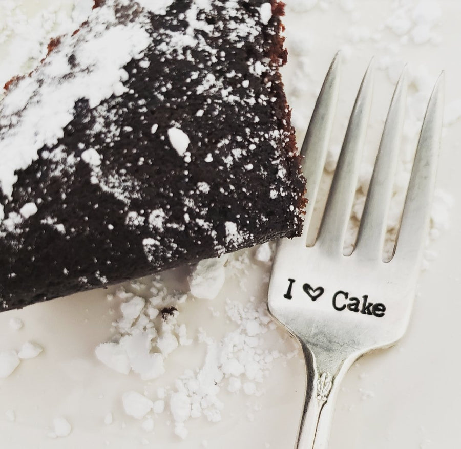 I Love Cake - Hand Stamped Silver Plate Fork - Stamped